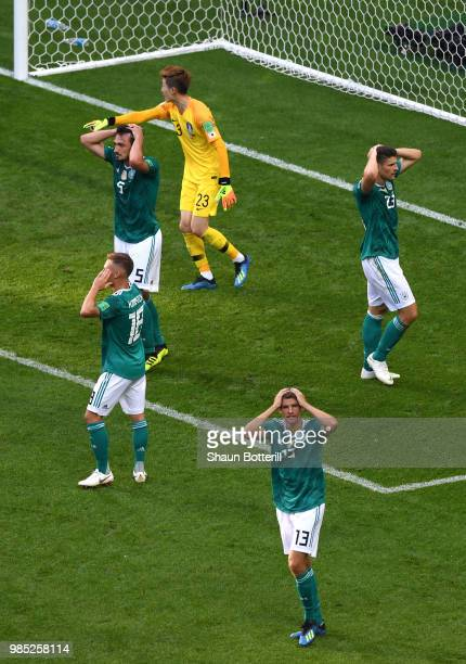 Germany players react after a missed chance during the 2018 FIFA World Cup Russia group F match between Korea Republic and Germany at Kazan Arena on...