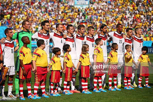 Germany players sing the National Anthem prior to the 2014 FIFA World Cup Brazil Quarter Final match between France and Germany at Maracana on July 4...