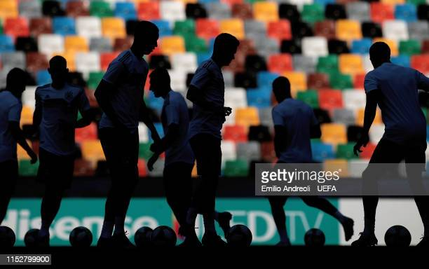 Germany players train during the training session ahead the 2019 UEFA U-21 Final match between Spain and Germany at Stadio Friuli on June 29, 2019 in...