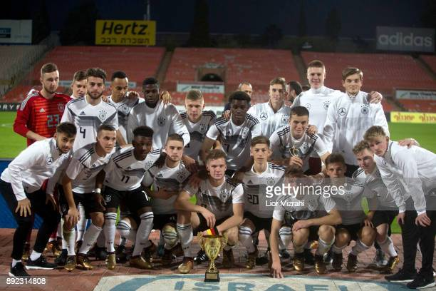 Germany players with the cup after the U18 final match with Israel at the Winter Tournament on December 14 2017 in Ramat Gan Israel