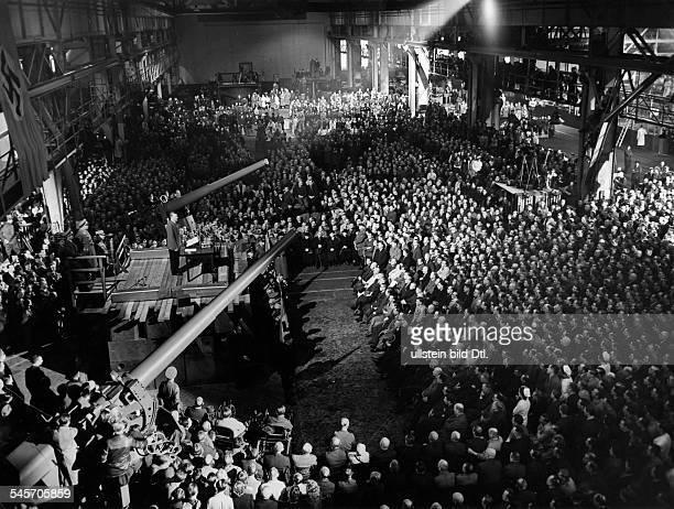 Germany Politics Adolf Hilter during speech at 'Rheinmetall Borsigwerke' in Berlin Tegel Published by 'Deutschland' 25/1940 Photographer...