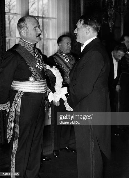 Germany Politics New Year reception at 'Reichspraesidentenpalais' in Berlin Adolf Hitler in conversation with French diplomat Andre FrancoisPoncet...