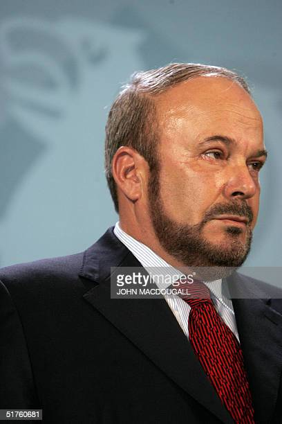 Portrait of Albanian Prime Minister Fatos Nano taken during a press conference with German Chancellor Gerhard Schroeder at the Chancellory in Berlin...
