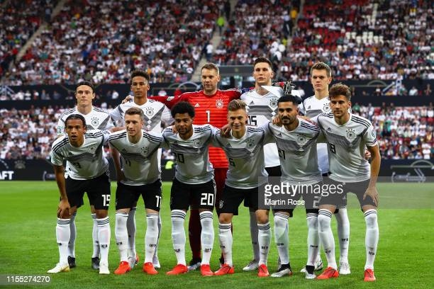 Germany pose for a team group photo prior to the UEFA Euro 2020 Qualifier match between Germany and Estonia at Opel Arena on June 11, 2019 in Mainz,...