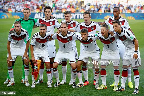 Germany pose for a team photo prior to during the 2014 FIFA World Cup Brazil Final match between Germany and Argentina at Maracana on July 13 2014 in...