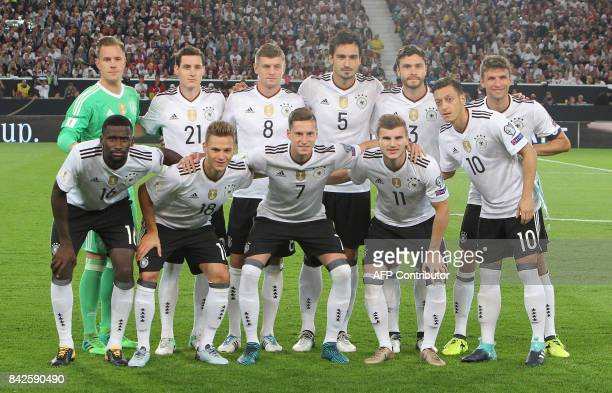 Germany pose for a team photo prior to kick off during the FIFA World Cup 2018 qualification match between Germany and Norway in the south German...
