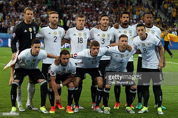 Germany pose for a team photograph ahead of the UEFA Euro 2016 Group C match between Germany and Ukraine at Stade PierreMauroy on June 12 2016 in...