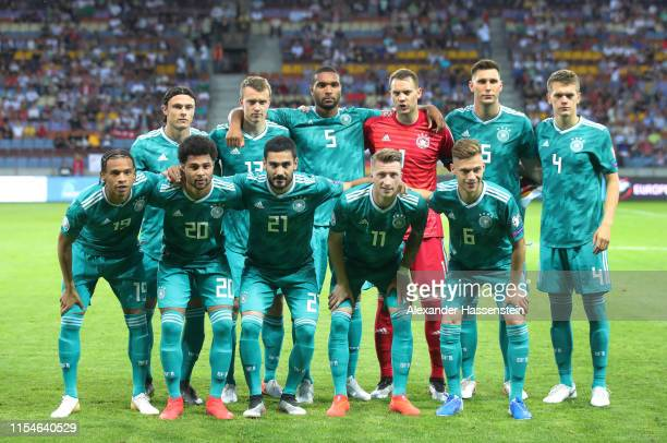 Germany pose for a team photograph before the UEFA Euro 2020 qualifier match between Belarus and Germany at BorisovArena on June 08 2019 in Barysaw...