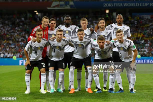 Germany pose prior to the 2018 FIFA World Cup Russia group F match between Germany and Sweden at Fisht Stadium on June 23 2018 in Sochi Russia