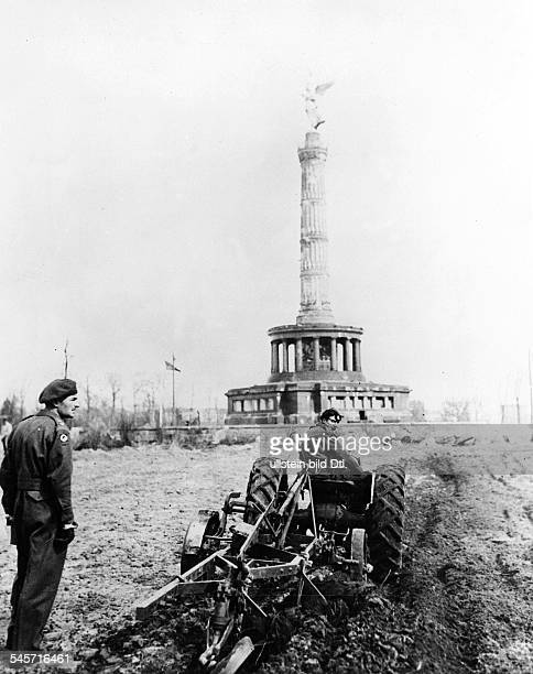 Germany Post War Years Agriculture in Berlin 194549 The land around Berlin Victory Column is being cultivated with vegetable crops