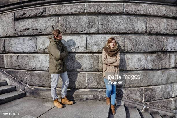Germany, Potsdam, displeased young couple at Glienicke Bridge