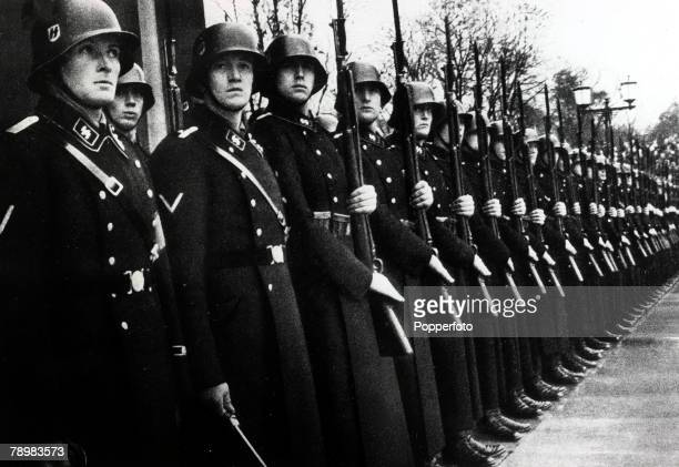 9th November 1935 Adolf Hitler's SS guard escort at Munich during the 1930's when the Nazi Party transformed Germany
