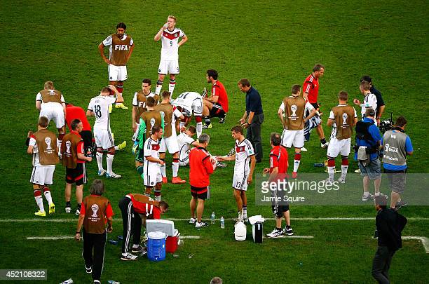 Germany prepare for the start of extra time during the 2014 FIFA World Cup Brazil Final match between Germany and Argentina at Maracana on July 13...
