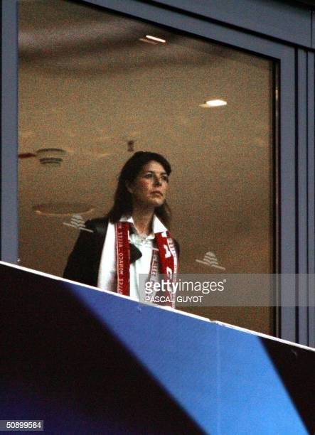 Princess Caroline watches the opening proceedings prior to the start of the final of the footall Champions League match between AS Monaco and FC...