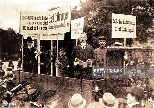 Germany Protests in Berlin against the Treaty of Versailles Mayor of Schoeneberg neighbourhood Mr Dominikus haranguing the crowd on Koenigsplatz...