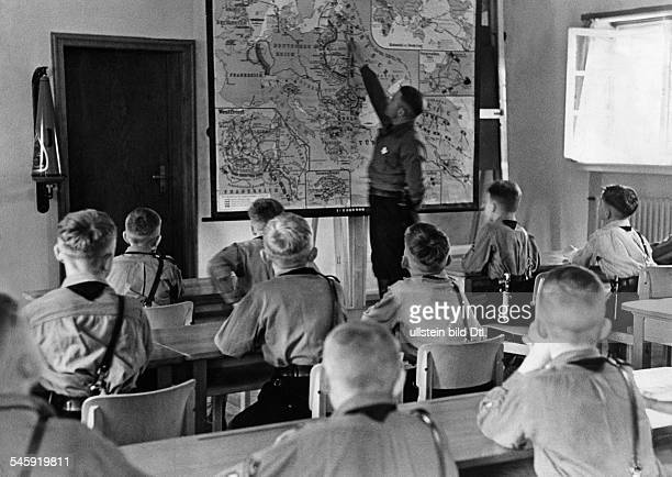 Germany pupils of a AdolfHitlerSchool getting ideological education in a training school for Nazi leaders histroy lesson in the Ordensburg...