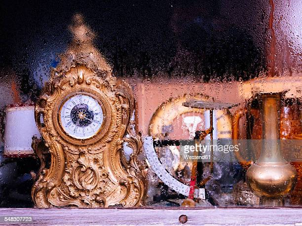 Germany, rag shop, old clock, scales und vase