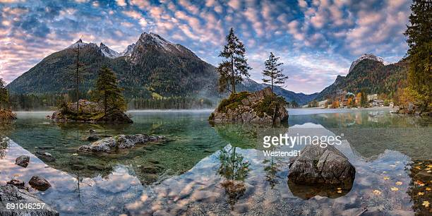 germany, ramsau, hintersee at sunrise - berchtesgaden stock-fotos und bilder