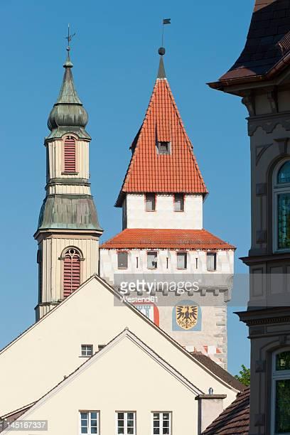 germany, ravensburg, view of tower in city - ravensburg stock-fotos und bilder
