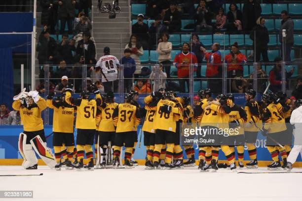 Germany reacts after defeating Canada 43 during the Men's Playoffs Semifinals on day fourteen of the PyeongChang 2018 Winter Olympic Games at...