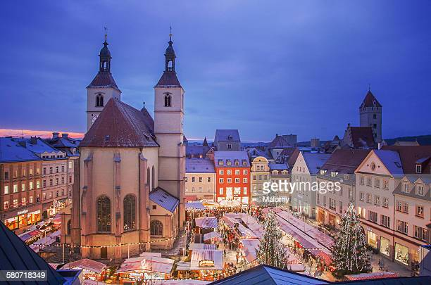 germany, regensburg, view of christmas market - regensburg stock photos and pictures
