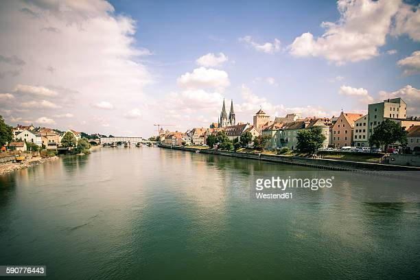 Germany, Regensburg, view to the city with Danube River