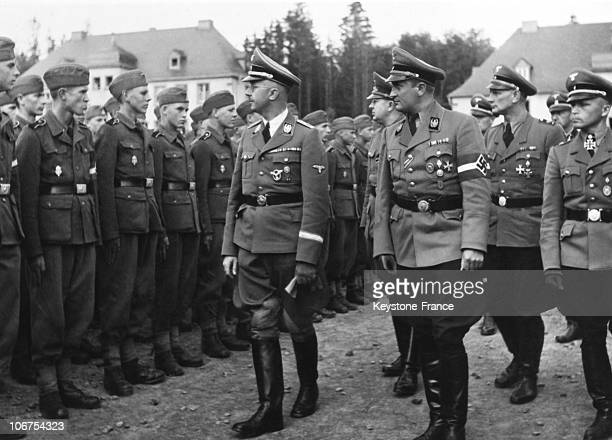 Germany Reichfuhrer Ss Heinrich Himmler Reviewing Waffen Ss Troops In June 1943