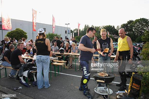 """Germany, Reportage """"Living at the highway 40"""". Bochum, young people with motorcycles"""