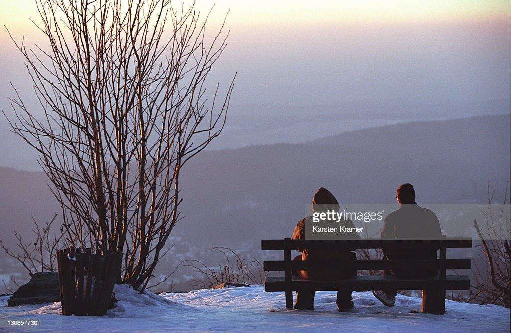 DEU, Germany: Rest in winter landscape on the hill named Feldberg/Taunus north of Frankfurt : Stock Photo