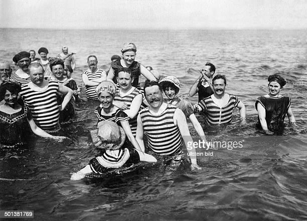 Germany, Rügen, Binz, people swimming in Baltic Sea, about 1909