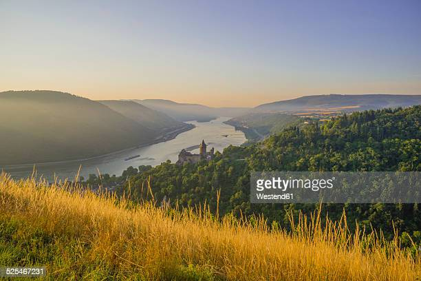 Germany, Rhineland Palatinate, Bacharach, Stahleck Castle, Upper Middle Rhine Valley in the evening