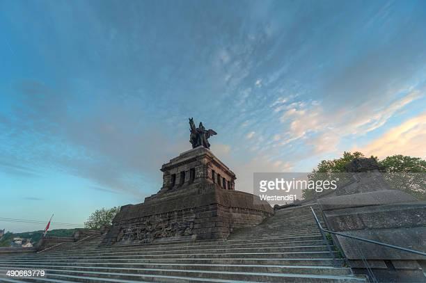germany, rhineland palatinate, koblenz, view of equestrian statue of emperor wilhelm i at deutsches eck - ラインラント=プファルツ州 ストックフォトと画像