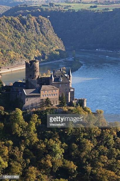 Germany, Rhineland Palatinate, View of Katz Castle with Rhine River