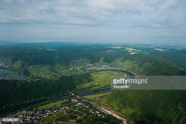 germany, rhineland-palatinate, aerial view of moselle loop at bremm - moselle stock pictures, royalty-free photos & images