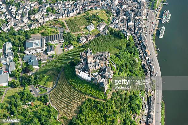 Germany, Rhineland-Palatinate, Cochem, aerial view of Reichsburg with Moselle River
