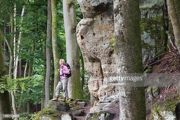 Germany, Rhineland-Palatinate, Eifel Region, South Eifel Nature Park, View of woman hiker standing near bunter rock formations at beech tree forest