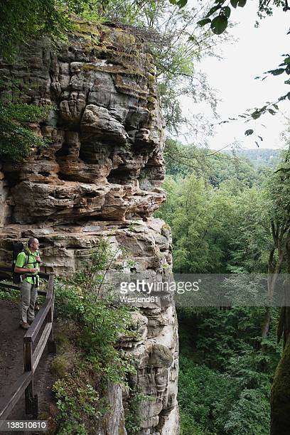 Germany, Rhineland-Palatinate, Eifel Region, South Eifel Nature Park, View of hiker standing on bunter rock formations at beech tree forest