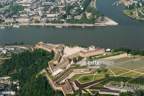 Germany, Rhineland-Palatinate, Koblenz, aerial view of Deutsches Eck with Ehrenbreitstein Fortress