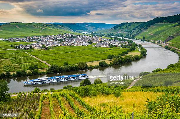 Germany, Rhineland-Palatinate, Moselle valley, excursion ship passing river bend at Trittenheim