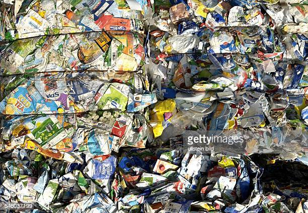 Germany RhinelandPalatinate Niederau waste recycling collected and compressed Tetra Pak