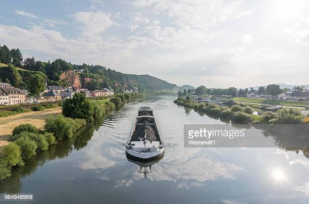 Germany, Rhineland-Palatinate, Trier, Ship on Moselle river