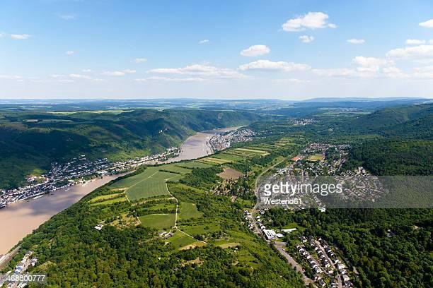 Germany, Rhineland-Palatinate, View of Kamp-Bornhofen and Buchenau at River Rhine, aerial photo