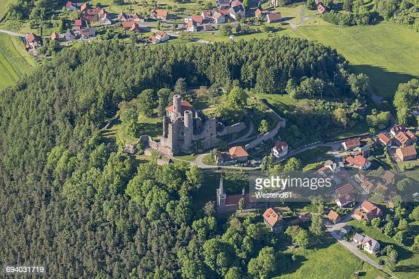 Germany, Rimbach, aerial view of Hanstein Castle ruin