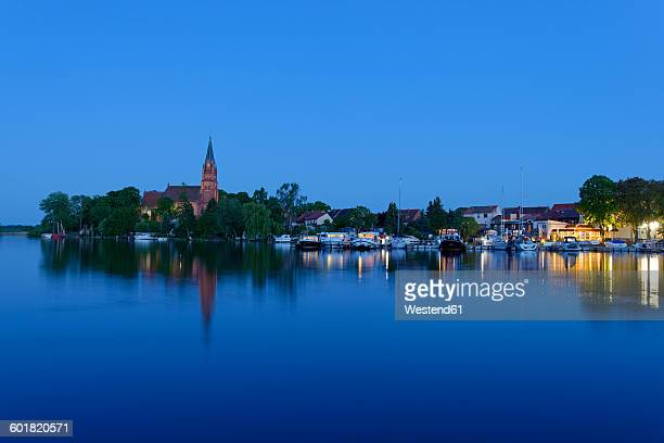 Germany, Roebeln, Mecklenburg Lake District, Mueritz, blue hour at harbour