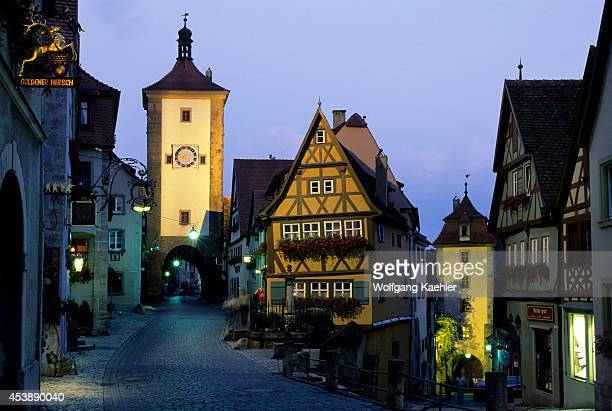 Germany Rothenburg On The Tauber Plonlein And Sieber's Tower At Dusk