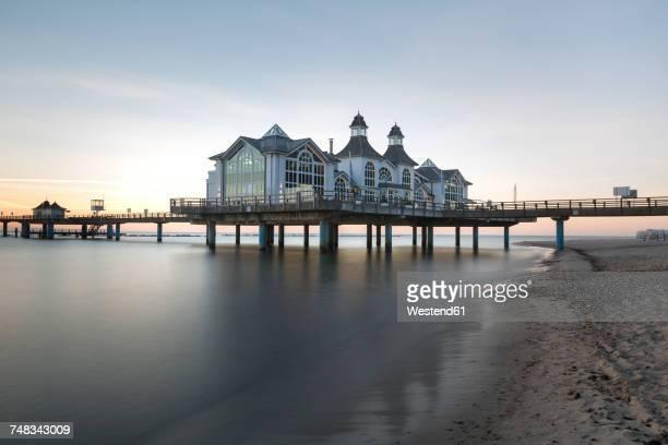 Germany, Ruegen, Sellin, view to sea bridge at morning twilight
