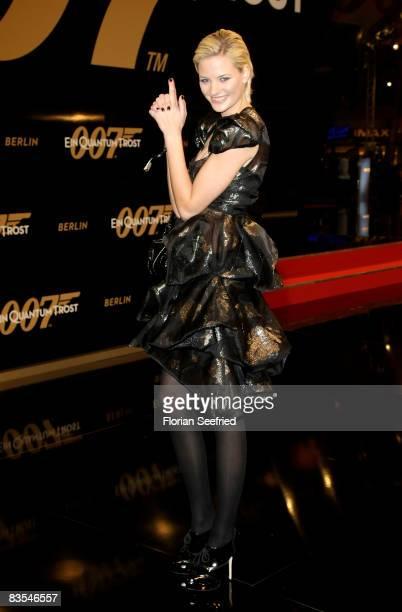 Germany s next top model Jennifer Hof attends the Berlin premiere of 'Quantum Of Solace' on November 03, 2008 in Berlin, Germany.