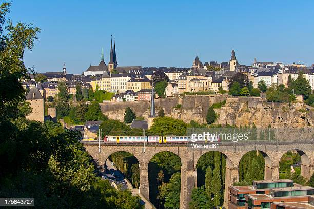 Germany, Saarland, Train, viaduct, cityscape, Luxemburg City