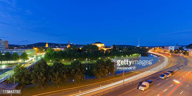 Germany, Saarland, View of express highway with Saar River and city