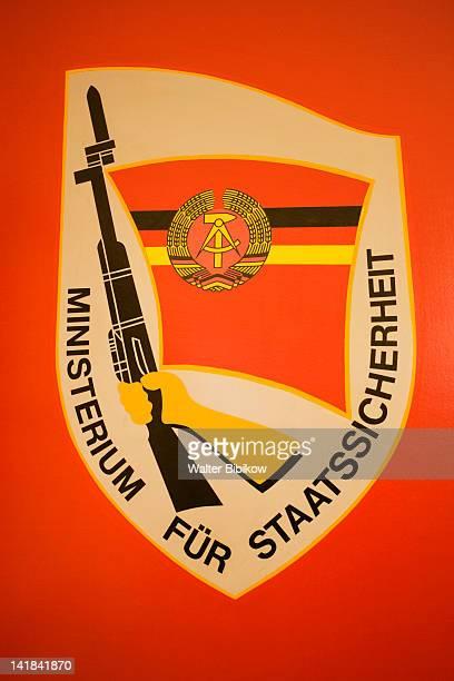 Germany, Sachsen, Leipzig, Stasi Secret Police Museum, Stasi insignia